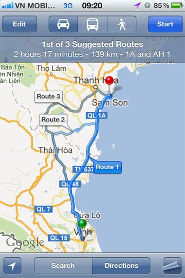 Tính năng dẫn đường trên Google Maps lại hoạt động bình thường ở Việt Nam.