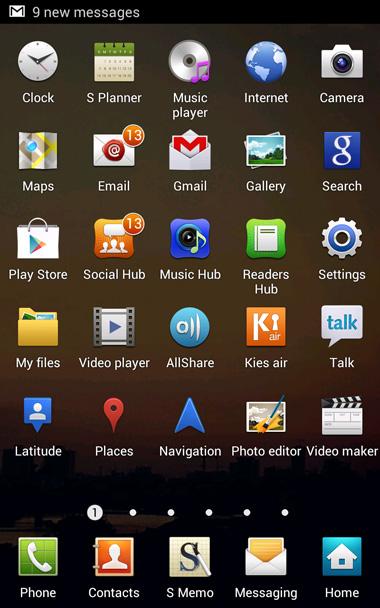 Dù chạy Android 4.0 nhưng với giao diện Touch Wiz nên phần quản lý hệ thống của Note không có nhiều thay đổi so với bản 2.3 trước đó.