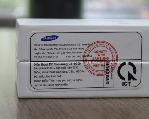 Đáng chú ý, Galaxy S III được sản xuất ở Bắc Ninh.