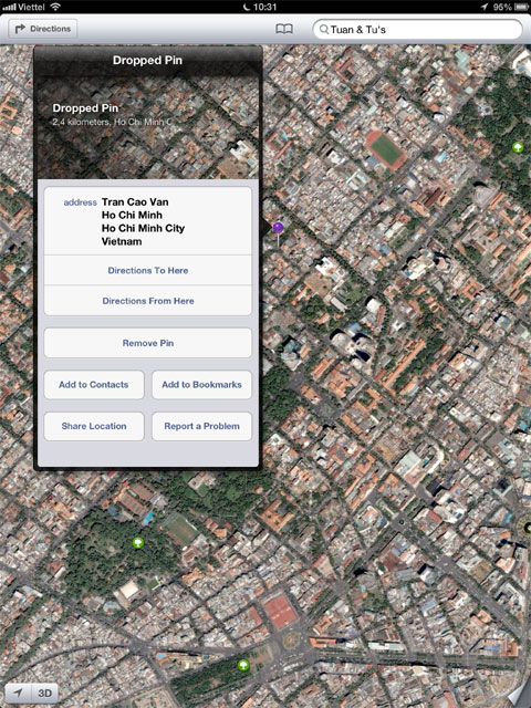 Khi giữ vào một điểm, bản đồ sẽ thông báo chi tiết hơn về vị trí.