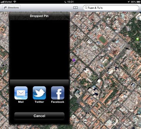 Ngoài ra, với việc tích hợp sâu hơn Facebook vào iOS, người dùng có thể chia sẻ địa điểm lên mạng xã hội này bên cạnh Twitter và Email.