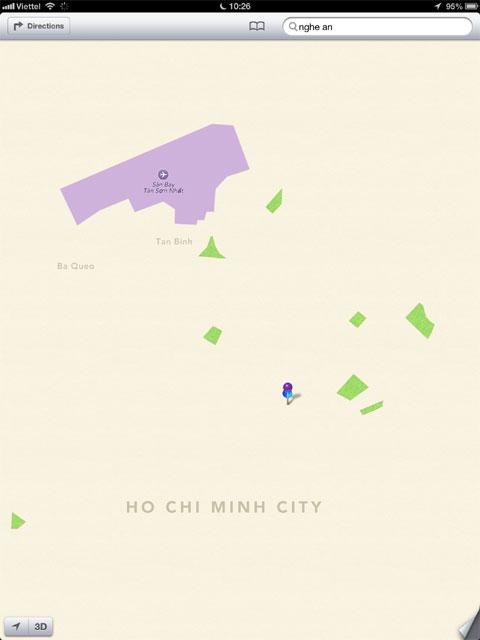 Khi mở ra, hình ảnh bản đồ TP HCM hiện ra rất thô sơ. Người dùng chỉ thấy sân bay Tân Sơn Nhất và một vài mảng xanh từ các công viên.