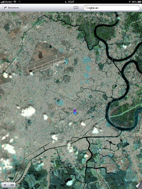 Khi chuyển sang chế độ xem Vệ tinh, bản đồ mới khá giống với Google Maps. Tuy nhiên, hệ thống giao thông chưa hiện ra.
