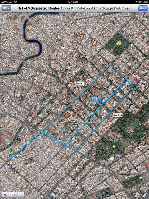 Thử nghiệm dẫn đường trên bản đồ này cho phép định hướng tốt.