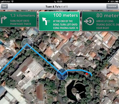 Mô phỏng các bảng chỉ đường thực tế, bản đồ mới cho phép người dùng xem trực quan hơn.
