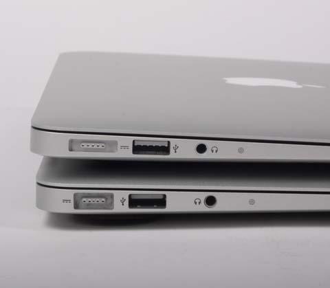 Macbook air 2012 phía trên có thay đổi về cổng sạc và USB 3.0.