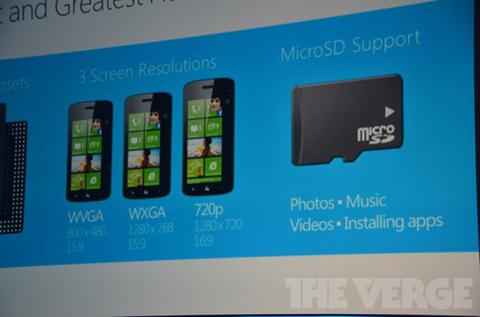 Thiết bị chạy Windows Phone 8 sẽ có cấu hình cao hơn, nhiều độ phân giải màn hình khác nhau và hỗ trợ khe cắm thẻ nhớ mở rộng.