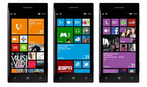 Giao diện trên Windows Phone 8 với các ô Tile có ba kích thước khác nhau và có thể điều chỉnh.