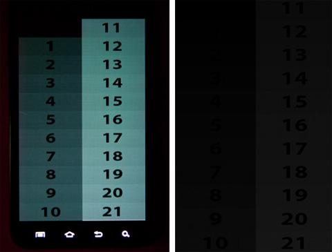 Màn hình của Note của một thành viên trên XDA-Developer nằm bên trái gặp vấn đề nặng về khả năng chuyển màu từ sáng sang tối, trong khi chiếc Captivate ở bên phải hiển thị bình thường.