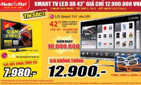 MediaMart thiết lập giá đáy mới cho phân khúc Smart TIVI 3D 42'' ở mức 12,9 triệu đồng.