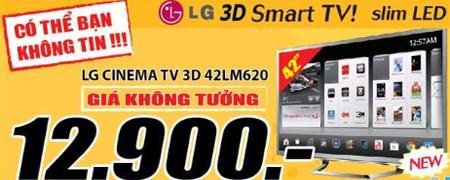 MediaMart thiết lập giá đáy mới cho phân khúc Smart TIVI 3D 42'' ở mức 12,9 triệu đồng