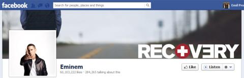 Eminem có lượng fan kỷ lục trên Facebook.