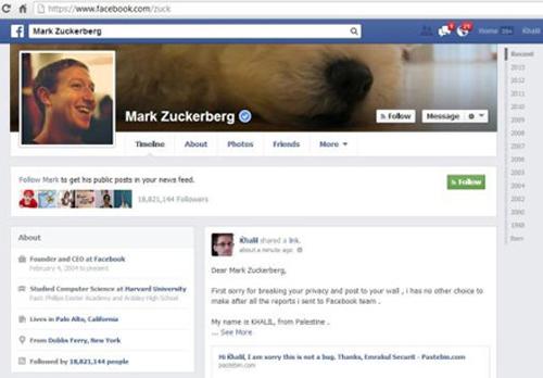 """Khalil Shreateh, chuyên gia công nghệ người Palestine đã thông báo cho Facebook về lỗ hổng cho phép bất cứ ai cũng có thể đăng nội dung lên tường (Timeline) của các thành viên khác dù họ có kết bạn với thành viên đó hay không. Tuy nhiên, các kỹ sư của mạng xã hội lớn nhất thế giới cho rằng đó không phải lỗi, nên Shreateh liền """"trình diễn"""" việc khai thác lỗ hổng này ngay trên tài khoản của Mark Zuckerberg."""