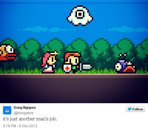Sự khởi đầu của Flappy Bird có thể là từ tháng 11/2012 khi Đông chia sẻ hình ảnh một trò chơi trên Twitter.