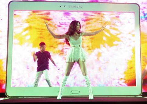 Ca sĩ Hồ Ngọc Hà với màn trình diễn tại buổi ra mắt Galaxy Tab S vào ngày 3/7 vừa qua.