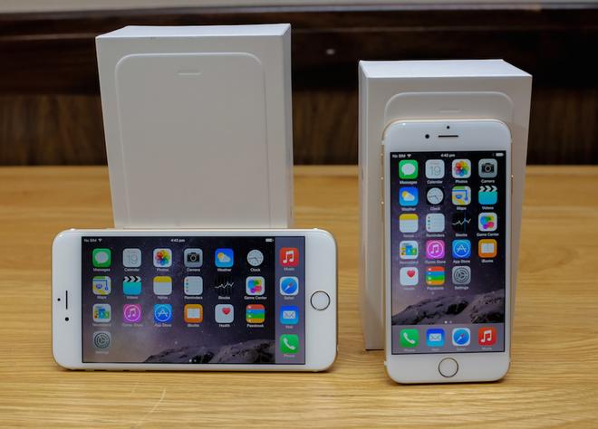 Ảnh bộ đôi iPhone 6, 6 Plus màu vàng tại Việt Nam