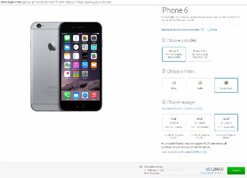 Ảnh chụp màn hình chiếc iPhone 6 mà người dân Singapore đặt mua để gởi về cho anh Thoại.
