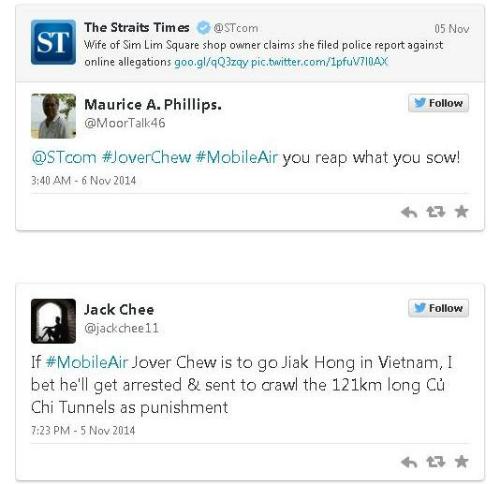 Nhiều người lên tiếng đả kích Jover Chew.