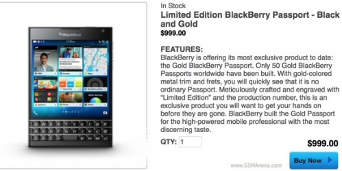BlackBerry ra thêm Passport bản Gold đặc biệt, giá 1.000 USD