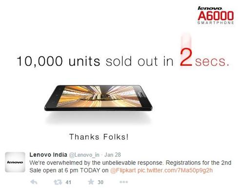 Lenovo bán 10.000 điện thoại giá rẻ trong 2 giâypx