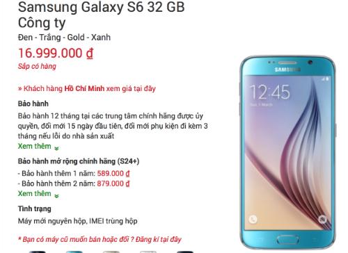 Nhiều nơi bắt đầu tung ra chương trình đặt hàng trước Galaxy S6 và S6 Edge, với giá lần lượt 17 và 19 triệu đồng.