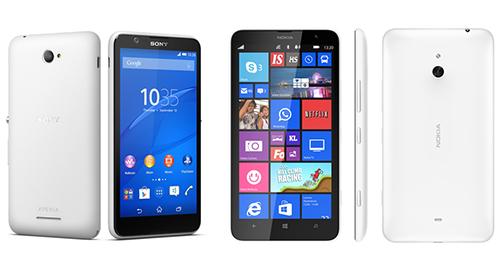 Xperia E4 và Lumia 1320.