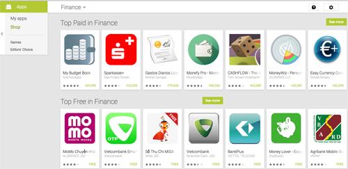 Ví MoMo Chuyển tiền là ứng dụng đứng đầu trong các phần mềm tài chínhtrên CH Play của Android.