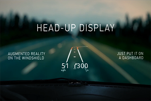 Phần mềm Hudway giúp biến smartphone thành HUD trên xe hơi. Ảnh: Digitimes.