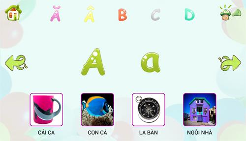 Ứng dụng Bé học chữ có giao diện và âm thanh hoàn toàn bằng Tiếng Việt.