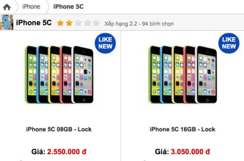 Ngoài bản 16GB phổ biến và được nhiều nơi bán, iPhone 5C khoá mạng có thêm bản 8GB với giá thấp hơn.