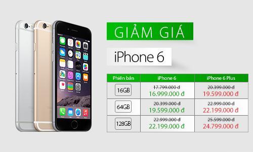 Mức giá niêm yết sau khi giảm của iPhone 6 và 6 Plus chính hãng.