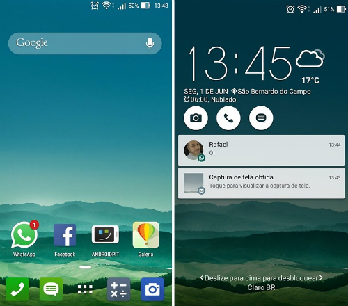 Giao diện phẳng phong cách Material Designs xuất hiện trên Zenfone 4, Zenfone 5 và Zenfone 6. Màn hình khoá hiển thị thông báo dạng Pop-up.