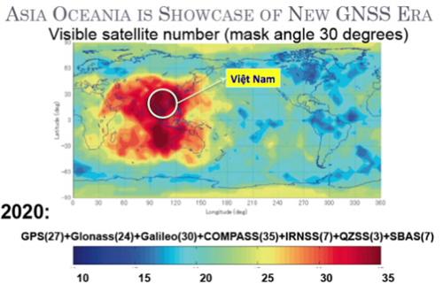 Mật độ vệ tinh theo hệ thống trên toàn thế giới. Người dùng ở Việt Nam rất may mắn khi có thể tiếp cận với số lượng nhiều nhất các hệ thống và vệ tinh. (nguồn: multignss.asia