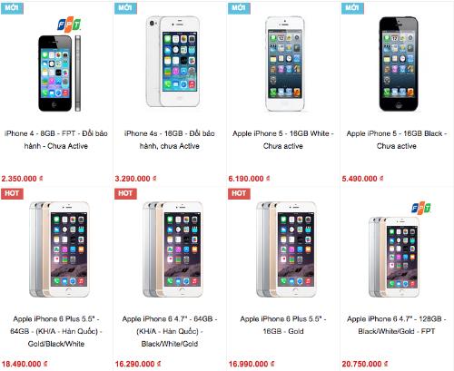 """Các dòng iPhone đời cũ """"đổi bảo hành"""" được bán như máy mới nhưng với giá rẻ."""