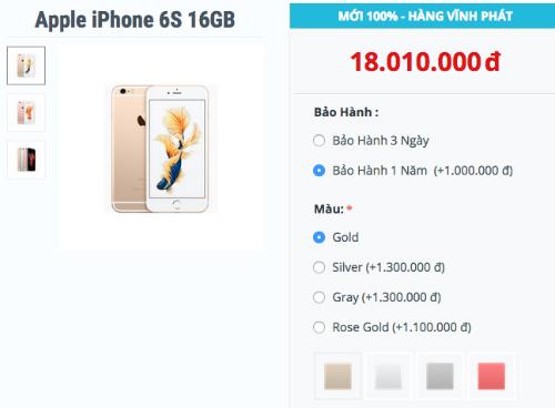 iPhone 6s màu đen khan hàng
