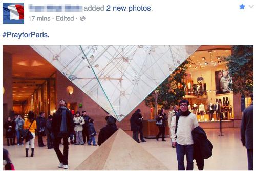 Sau vụ khủng bố đẫm máu vừa xảy ra tại Paris (Pháp), nhiều người dùng trên mạng xã hội Facebook thay đổi hình đại diện bằng quốc kỳ Pháp và chia sẻ thông điệp cầu nguyện, tưởng nhớ tới các nạn nhân thiệt mạng.