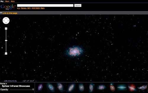 Google.com/sky cho phép bạn khám phá những giới xa xôi của vũ trụ sử dụng hình ảnh từ vệ tinh của NASA , Khảo sát bầu trời kỹ thuật số Sloan , và kính viễn vọng Hubble .