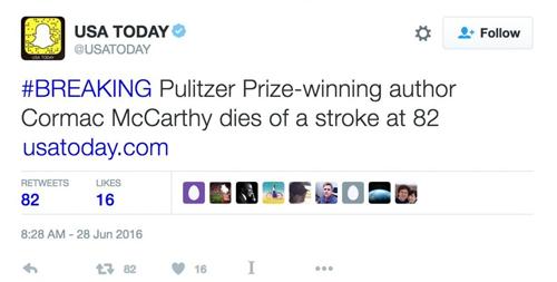 Tài khoản Twitter của USA Today đưa tin nhà văn McCarthy sau khi thông tin giả mạo của Debenedetti
