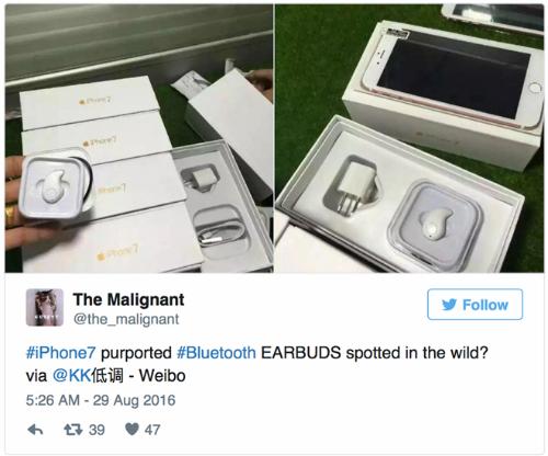 Hình ảnh được cho là vỏ hộp iPhone 7 với tai nghe không dây bên trong.