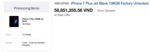 Giá của iPhone 7 màu đen bóng tăng cao vì hiếm hàng.