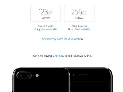 iPhone 7 Plus Jet Black vẫn bị khan hàng
