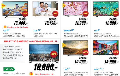 Thị trường TV 4K cuối năm khá sôi động nhờ nhiều sản phẩm giá rẻ.