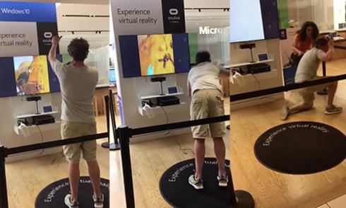 Video ngã nhào vì chơi game thực tế ảo gây sốt trên mạng