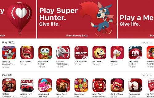 Cả App Store trở ngập tràn sắc đỏ trong những ngày này.