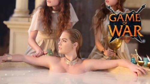 Hình ảnh trong video quảng cáo nổi tiếng của Kate Upton cho trò chơi Game of War: Fire Age.