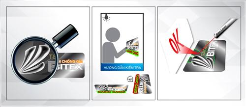 3 đặc điểm không thể thiếu trên tem chống giả: hiệu ứng logo Bitex nổi 3D, tương phản màu sắc chìm và hiển thị chữ OK khi soi đèn laser.