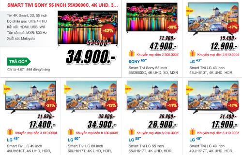 Thị trường TV cuối năm nhộn nhịp nhờ màn giảm giá của nhiều dòng 4K.