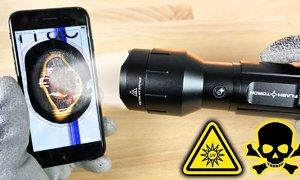 iPhone 7 hỏng nặng dưới đèn pin sáng nhất thế giới