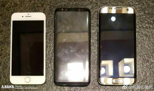 Slash Leaks, trang công nghệ khá nổi tiếng trong việc đăng tin về những sản phẩm chưa ra mắt, đã chia sẻ hình ảnh được cho là mặt trước của Galaxy S8 kẹp giữa iPhone 7 và Galaxy S7.