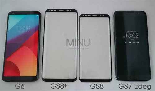 And finally, we have a photo from Instagram user minu_home that shows glass faces from the Galaxy S8 and Galaxy S8+ in between a new LG G6 and last years Galaxy S7 edge.